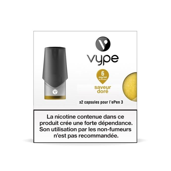 Capsule ePen 3 Saveur Doré - recharge e-liquide VYPE 6mg/ml