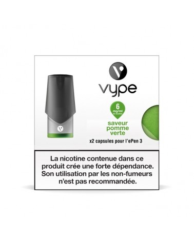 Capsule ePen 3 Saveur Pomme Verte - recharge e-liquide VYPE 6mg/ml